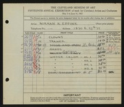 Entry card for Eppink, Norman Roland for the 1933 May Show.