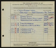 Entry card for Gaertner, Carl Frederick for the 1933 May Show.