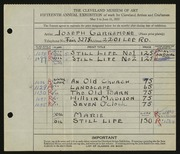 Entry card for Garramone, Joseph  for the 1933 May Show.