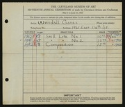Entry card for Gates, Wendall N. for the 1933 May Show.