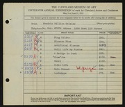 Entry card for Geisler, Frederic William for the 1933 May Show.