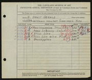 Entry card for Gerald, Elizabeth Bart for the 1933 May Show.