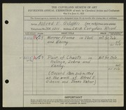 Entry card for Gibson, Alfred E., and Rehor, James for the 1933 May Show.