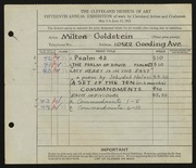 Entry card for Goldstein, Milton for the 1933 May Show.