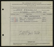 Entry card for Gonzalez, John for the 1933 May Show.