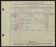 Entry card for Goodman, A. H. for the 1933 May Show.