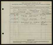 Entry card for Gregory, Waylande for the 1933 May Show.