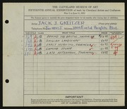 Entry card for Greitzer, Jack J. for the 1933 May Show.