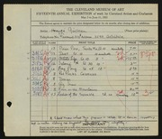 Entry card for Guilbeau, Honore for the 1933 May Show.