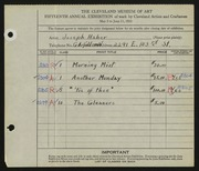 Entry card for Haber, Joseph for the 1933 May Show.