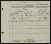Entry card for Hall, Doris Elizabeth for the 1933 May Show.