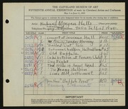 Entry card for Halls, Richard Morgan for the 1933 May Show.