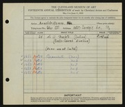 Entry card for Hamm, Arnold C. for the 1933 May Show.