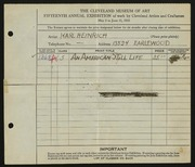 Entry card for Heinrich, Karl for the 1933 May Show.