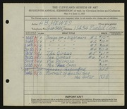Entry card for Hewes, A. B. for the 1933 May Show.
