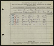 Entry card for Hoffman, Carol L. for the 1933 May Show.