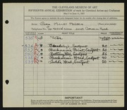 Entry card for Holden, Cora for the 1933 May Show.