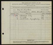Entry card for Horton, Ann V. for the 1933 May Show.