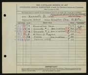 Entry card for Ives, Kenneth B., and Cleveland School of Art for the 1933 May Show.