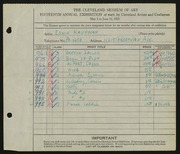 Entry card for Kaufman, Edwin for the 1933 May Show.