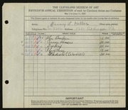 Entry card for Keller, Henry L. for the 1933 May Show.