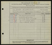 Entry card for Kemeny, John for the 1933 May Show.