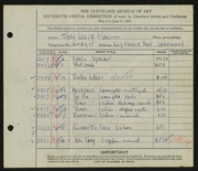 Entry card for King, Mary Louise for the 1933 May Show.