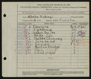 Entry card for Kubinyi, Kalman for the 1933 May Show.