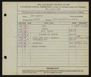 Entry card for Lederer, Edna T. for the 1933 May Show.