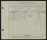 Entry card for Letts, Donald Sherwood for the 1933 May Show.