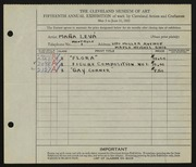 Entry card for Leva, Mana for the 1933 May Show.