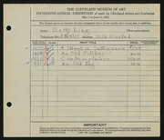 Entry card for Long, Elizabeth French for the 1933 May Show.