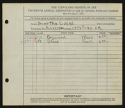 Entry card for Lueke, Matha for the 1933 May Show.