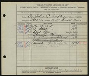 Entry card for Lupton, Dr. John C. for the 1933 May Show.