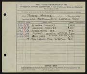 Entry card for Marker, Thomas for the 1933 May Show.
