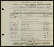 Entry card for McDonald, Edward Dixon for the 1933 May Show.