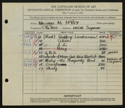 Entry card for McVey, William Mozart for the 1933 May Show.