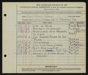 Entry card for Merlin, Janet Orkin for the 1933 May Show.