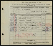 Entry card for Meyer, Paul A. for the 1933 May Show.