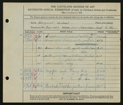 Entry card for Michael, Margaret for the 1933 May Show.