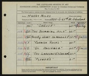 Entry card for Miles, Harry for the 1933 May Show.