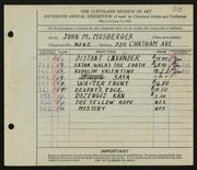 Entry card for Mosberger, John M. for the 1933 May Show.