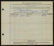 Entry card for Mosgo, Charles Francis for the 1933 May Show.