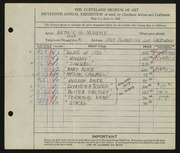 Entry card for Murphy, Arthur for the 1933 May Show.