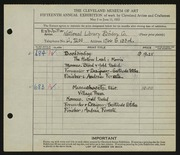 Entry card for National Library Bindery Co., and Foresta, Andrea; Stiles, Gertrude for the 1933 May Show.