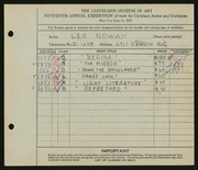 Entry card for Nowak, Leo for the 1933 May Show.