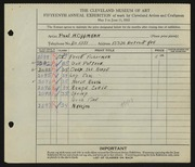 Entry card for Oppmann, Paul H. for the 1933 May Show.