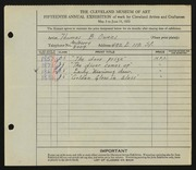Entry card for Owens, Thomas B. for the 1933 May Show.