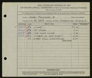 Entry card for Pickands, James, II for the 1933 May Show.