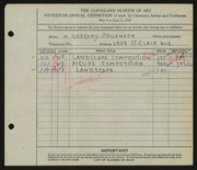 Entry card for Prusheck, Harvey Gregory for the 1933 May Show.